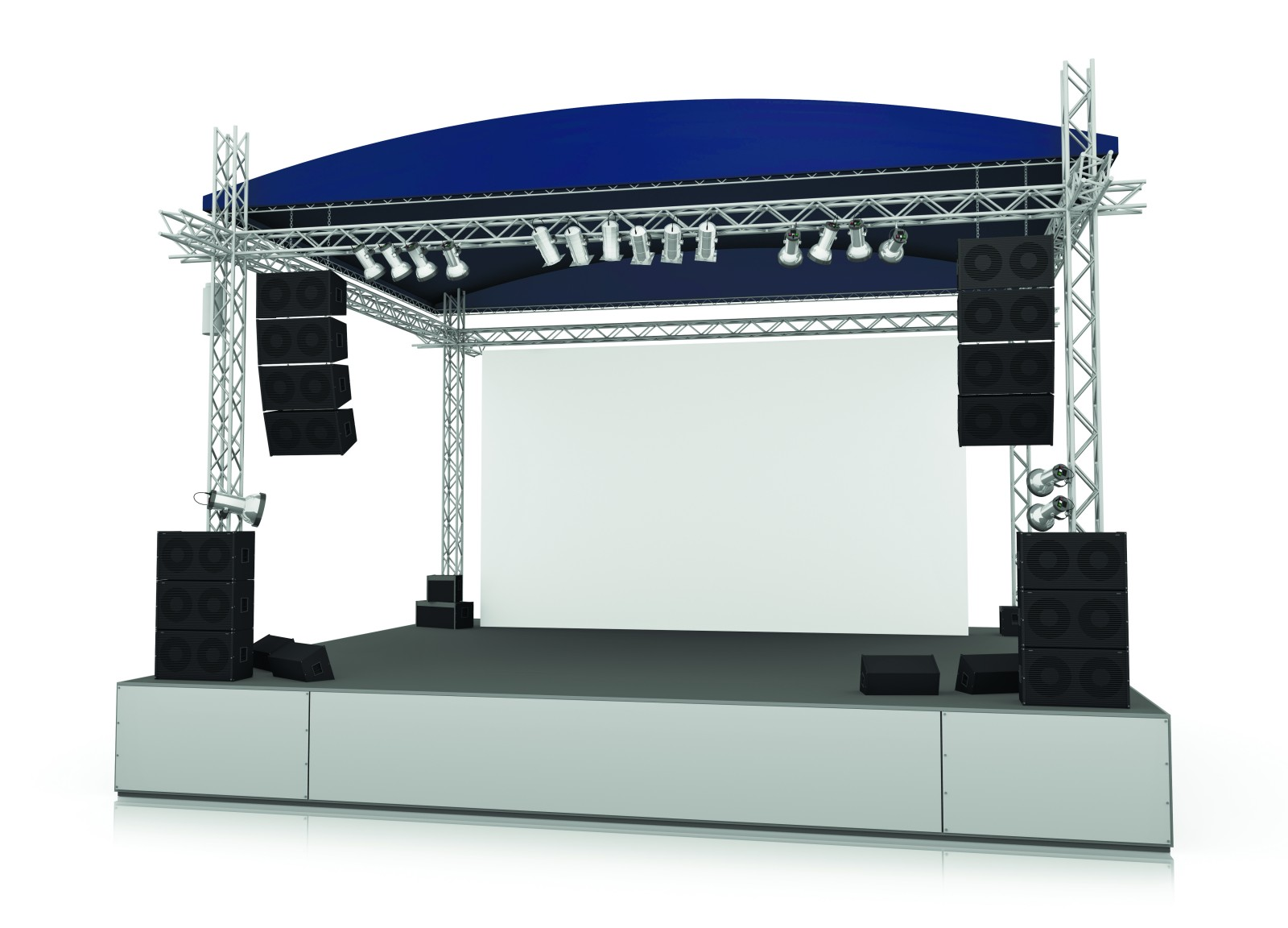 Empty outdoor rock stage - Empty Outdoor Stage With Blank Screen