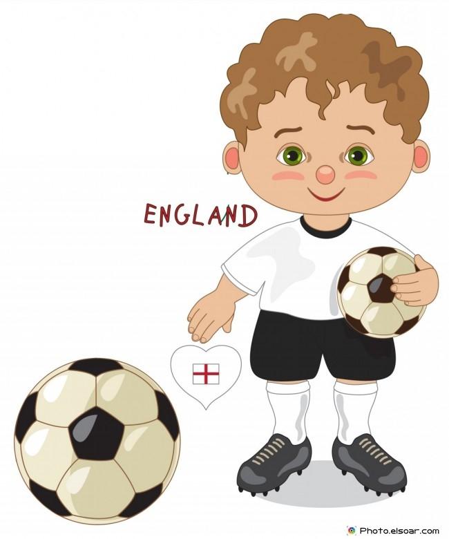 England National Jersey, Cartoon Soccer Player