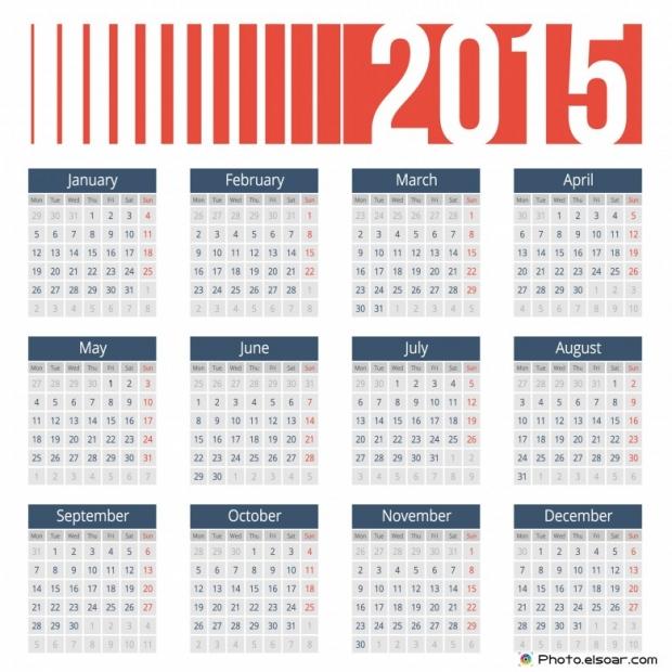 European calendar grid for 2015 year.