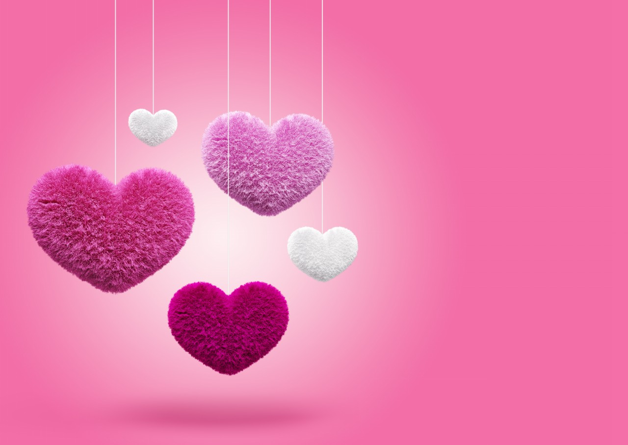 cute fluffy hearts on pink backgrounds elsoar