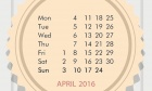 Free JPEG Calendar for April 2016