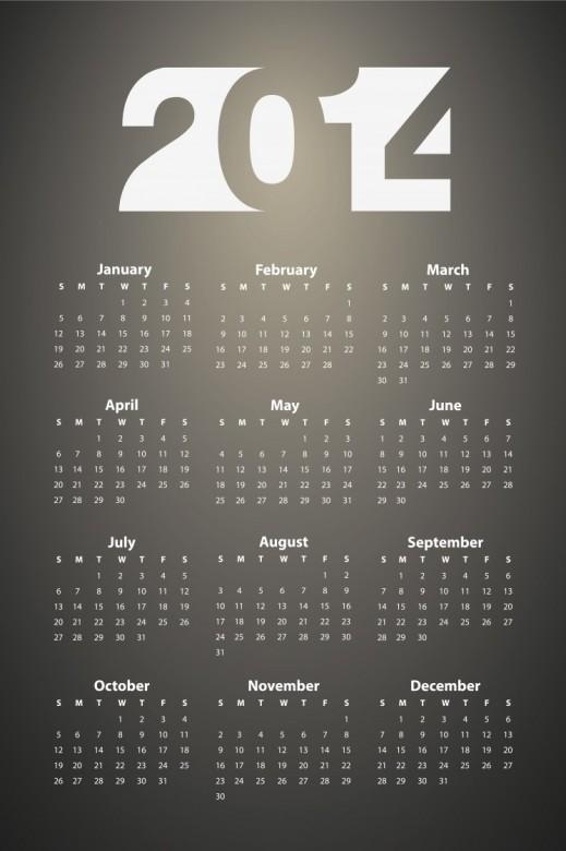 Free Printable 2014 Calendar Amazingly 24
