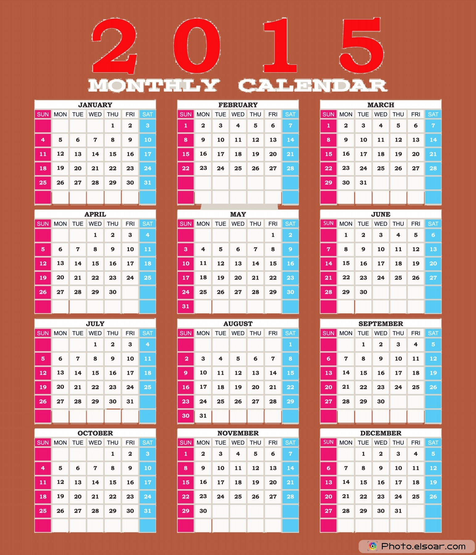 Get 2015 Printable Calendars – Free Download • Elsoar