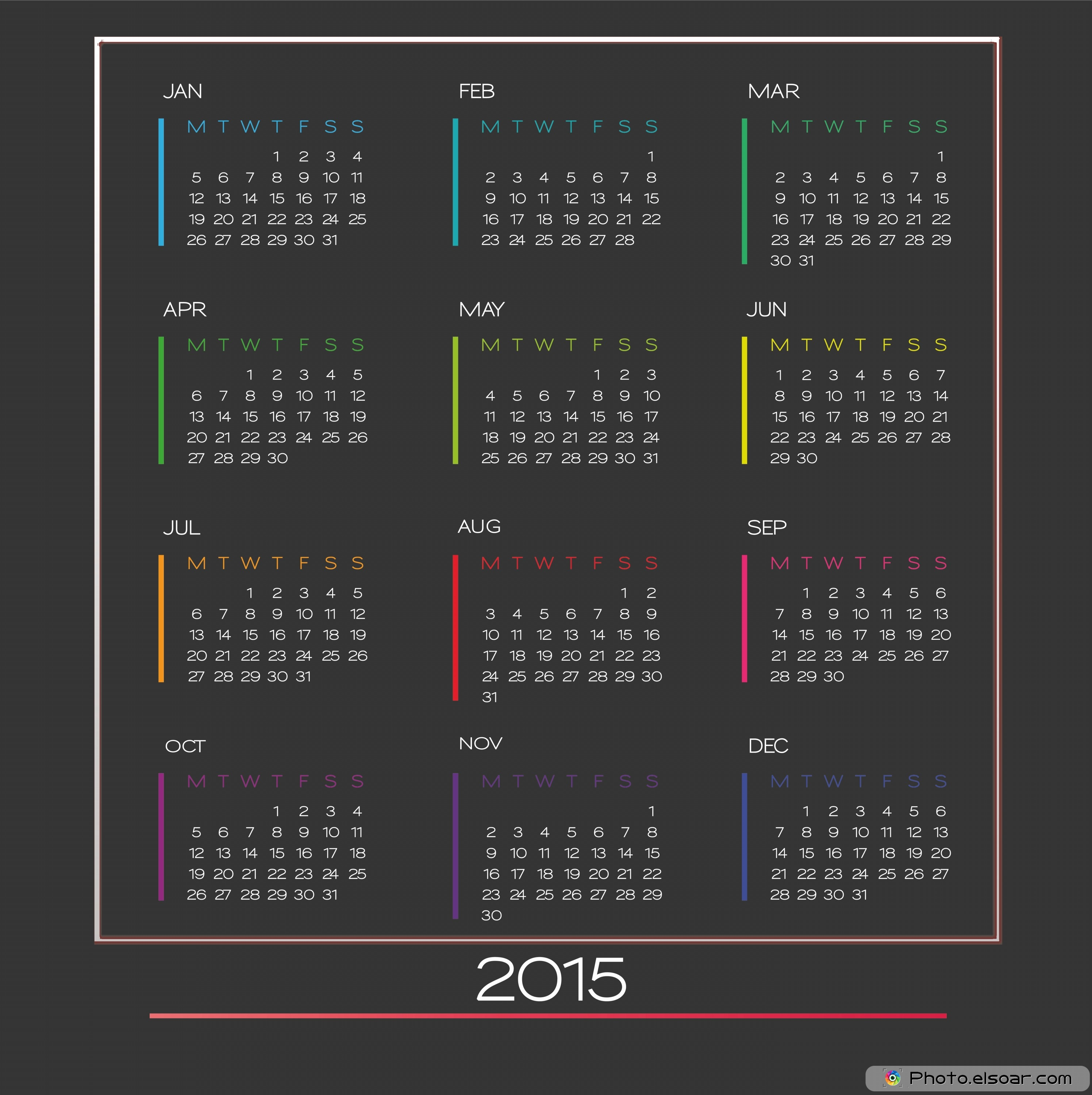 Free Printable Yearly 2015 Calendars To Make New