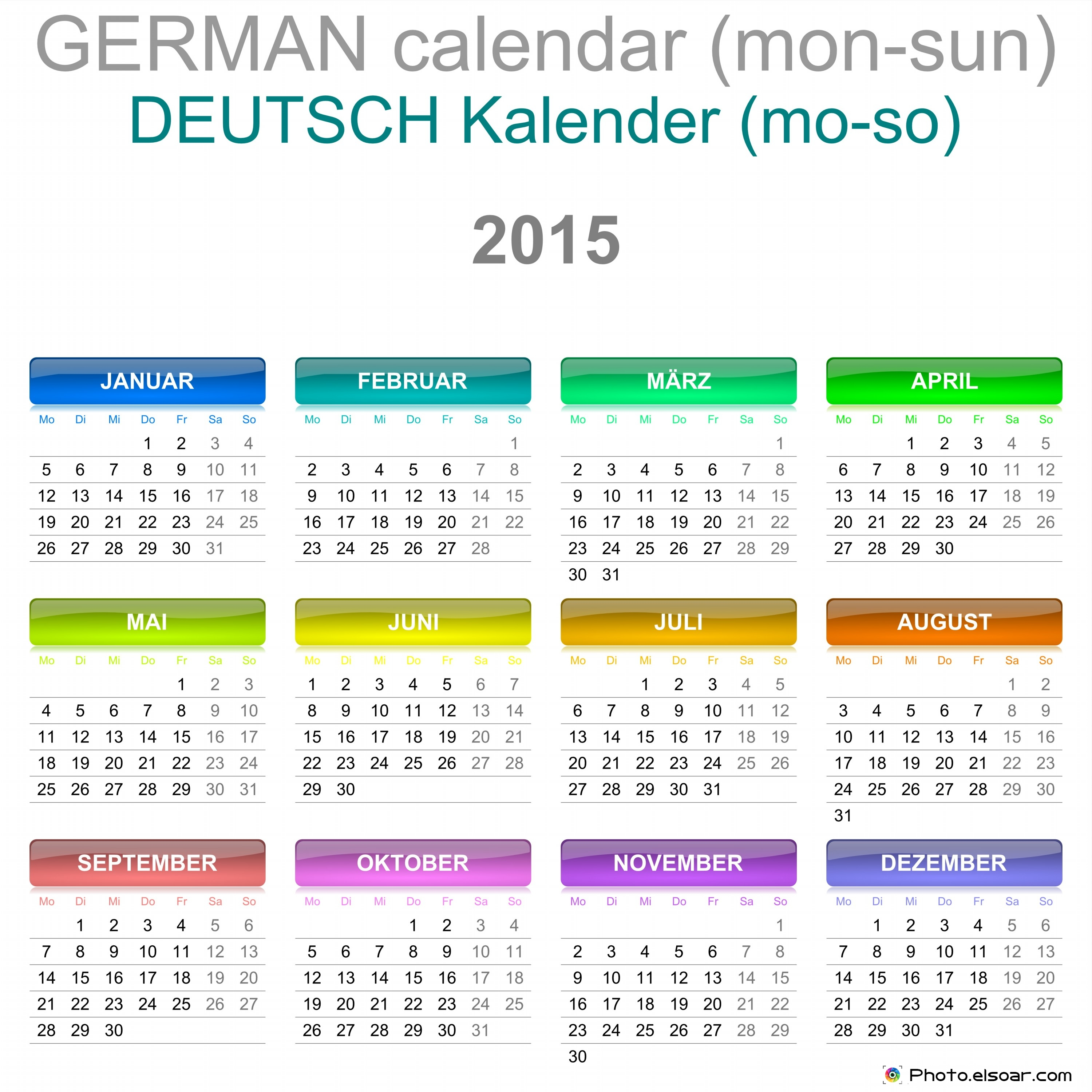 Deutsche Kalender 2015 Kostenlos Downloaden – German Calendars ...