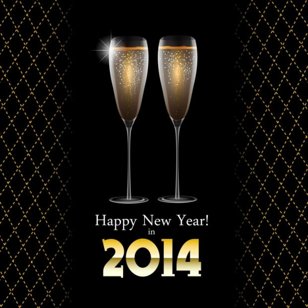 Glasses champagne HappyNewYear 2014 A