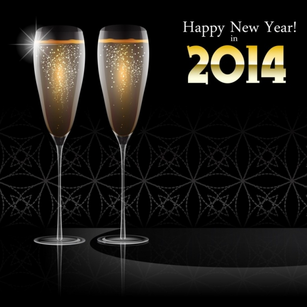 Glasses champagne HappyNewYear 2014 E
