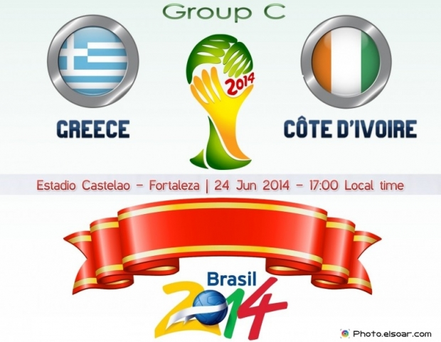 Greece Vs Côte D'ivoire - World Cup 2014 - 24 Jun 2014 - 16:00 Local time - GROUP C - Arena Pantanal - Cuiaba