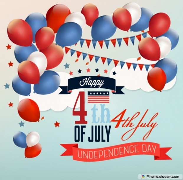 Happy 4th of July With Colorful Balloons