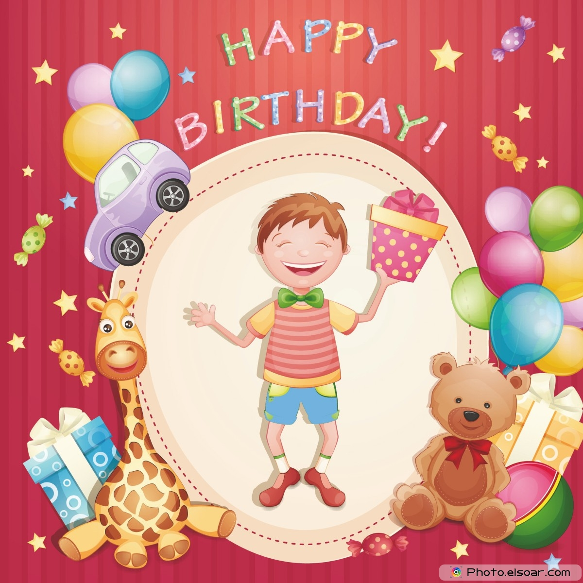 Free Unique Happy Birthday Cards With Many Elements Elsoar – Birthday Boy Cards
