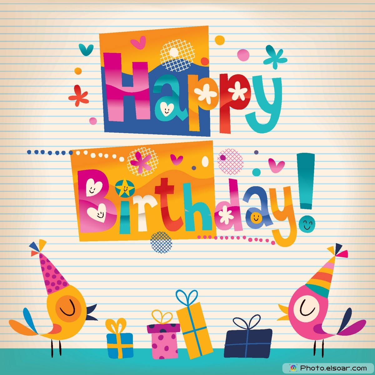 Free Unique Happy Birthday Cards With Many Elements Elsoar – Happy Birthday Card Design Free