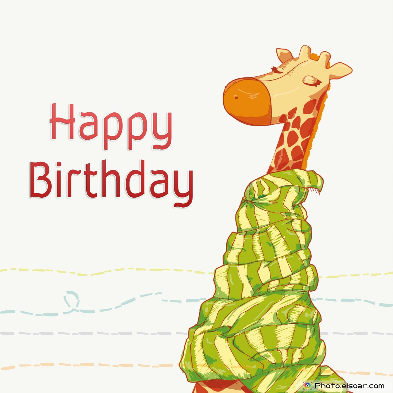 Beautiful Happy Birthday Greeting Cards With Giraffes, Pet • Elsoar