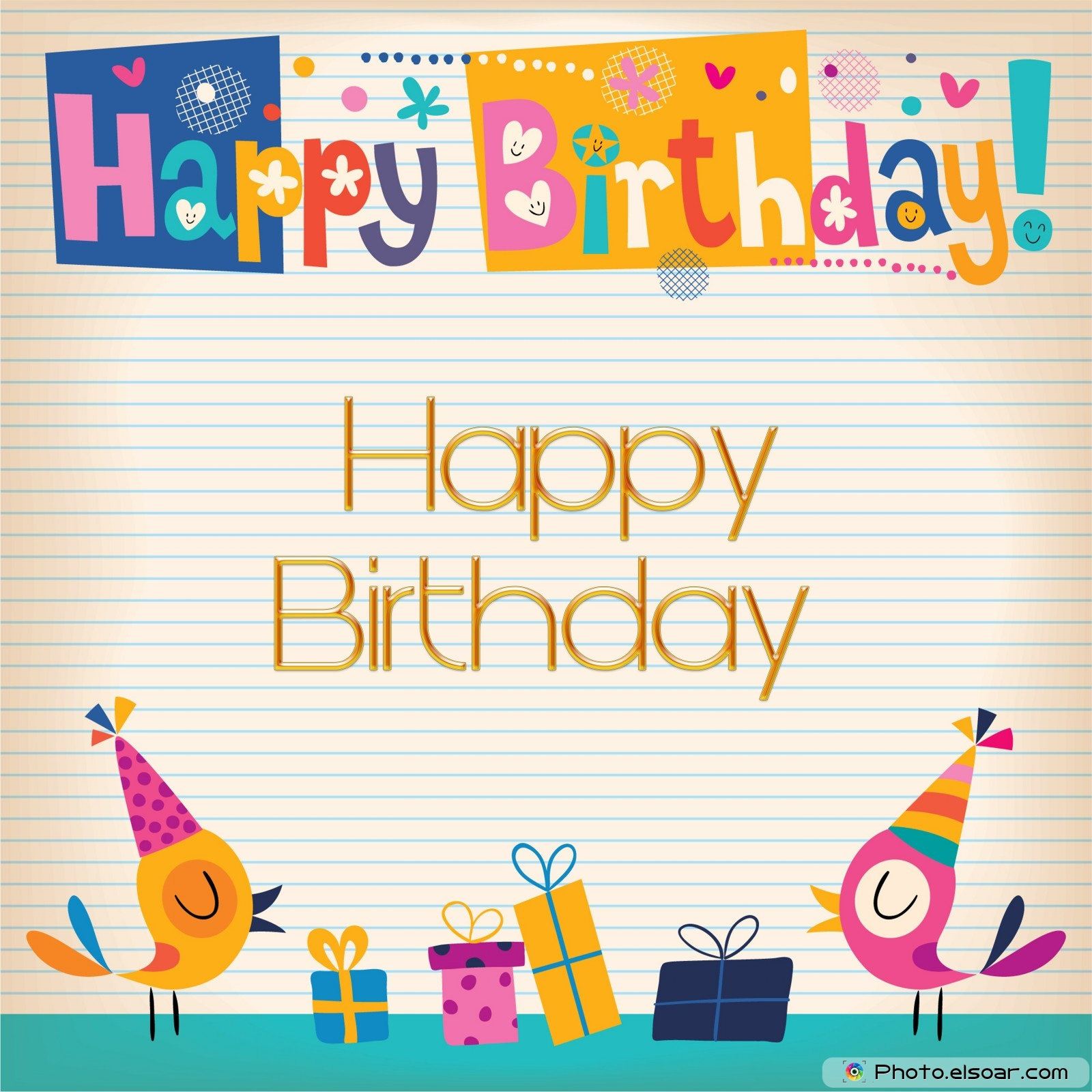 22 Happy BirthDay Cards on Bright Backgrounds Elsoar – Pretty Birthday Cards
