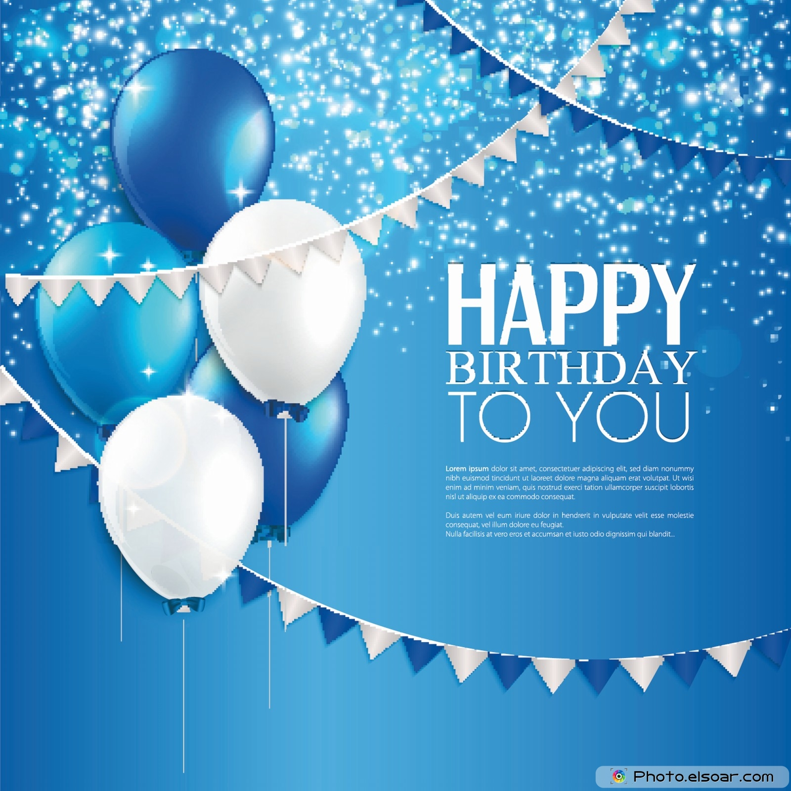 5 Greeting Cards Entitled Happy Birthday To You Elsoar – Blue Birthday Cards
