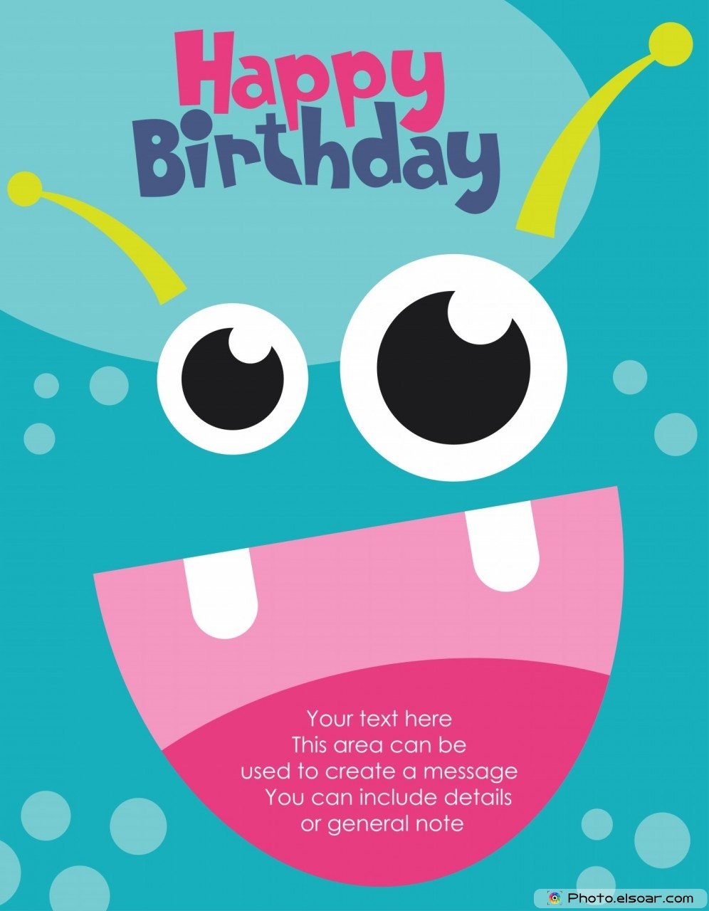 Happy Birthday. monster party card design