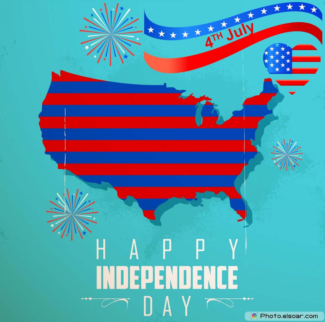 Happy Th Of July Greeting Cards USA Independence Day Elsoar - Us map independence
