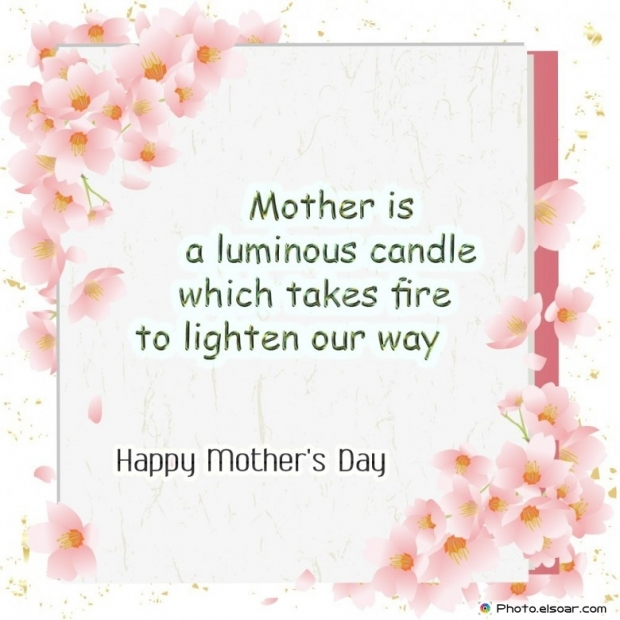 Happy Mothers Day Card Unique Saying. luminous candle