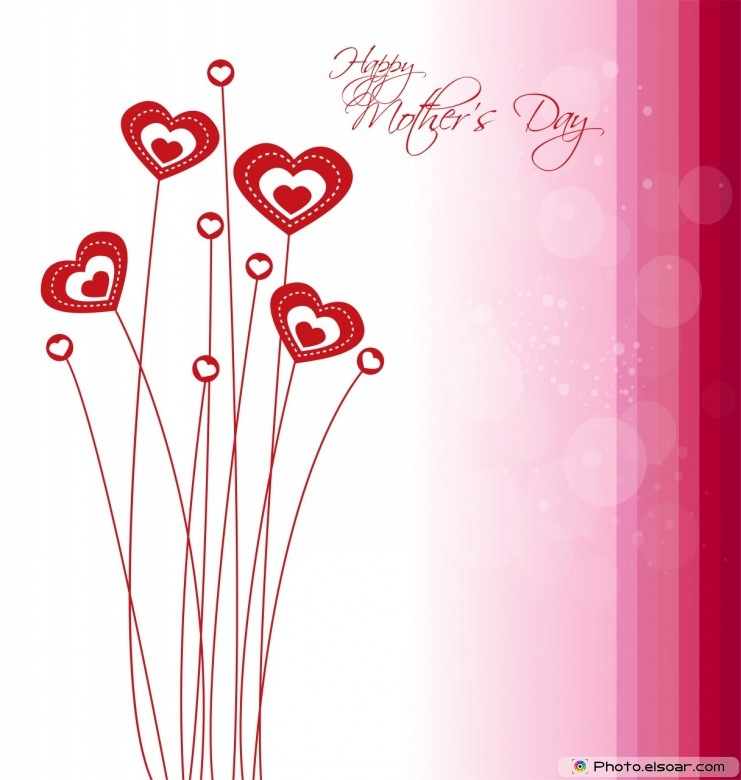 Happy Mother's Day With Many Red Hearts
