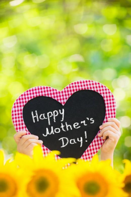 Happy Mothers Day on Blackboard in heart shape