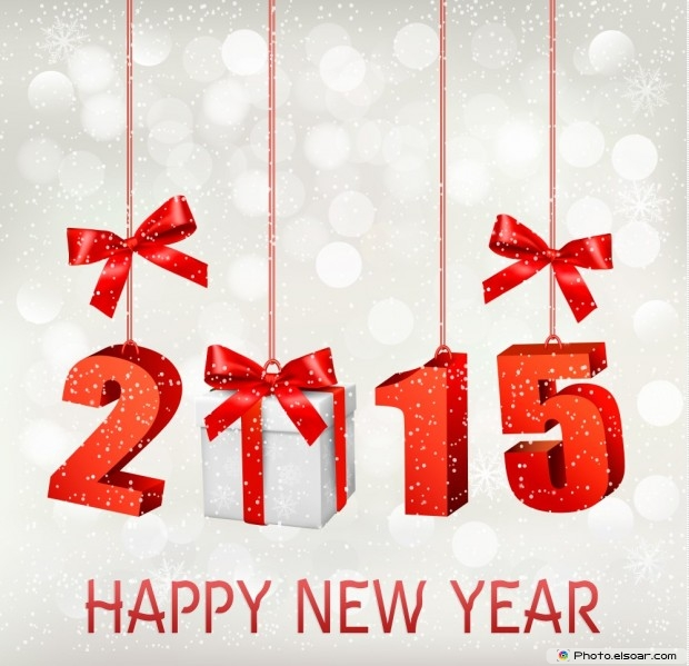 Happy New Year 2015 Design With Gift Box