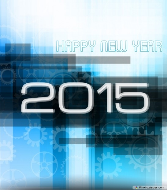 Happy New Year 2015 On Bright-Shiny Background