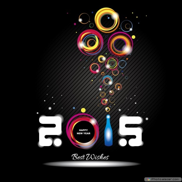 Happy New Year 2015 With Best Wishes On Black Background