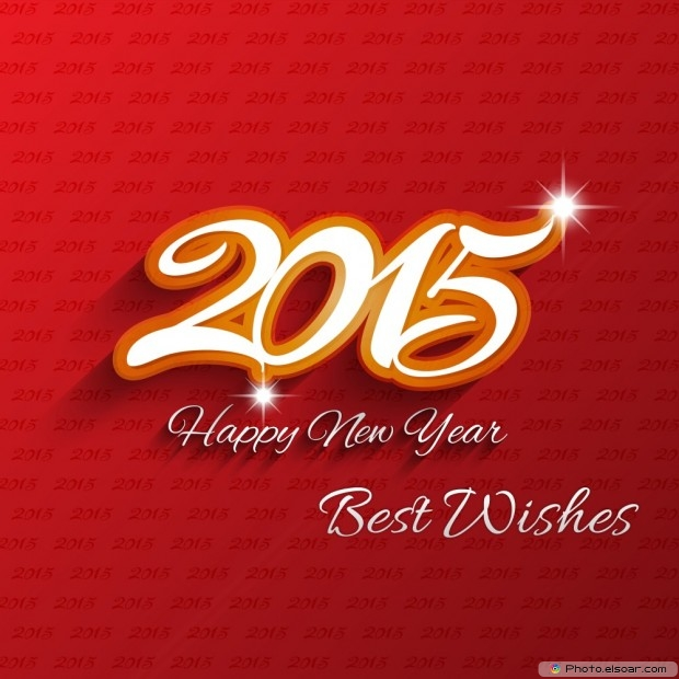 Happy New Year 2015 With Best Wishes On Hot Red Background