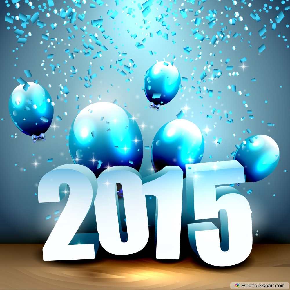 Happy New Year 2015 With Blue Balloons