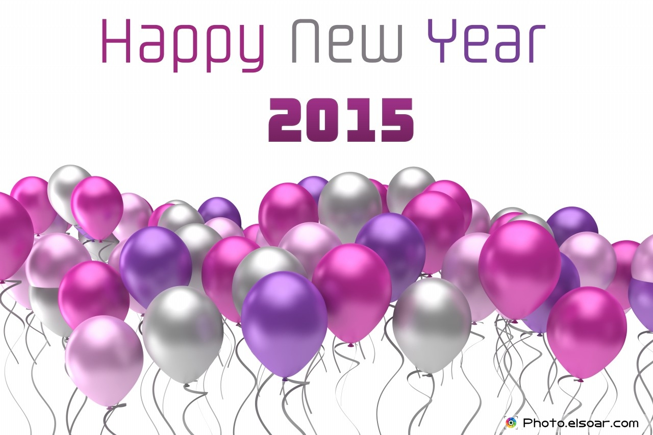 Top 10 Wallpapers For Happy New Year 2015 With Colorful Balloons