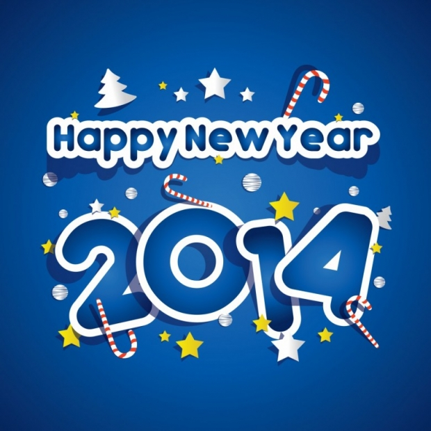 Free HD Happy New Year 2014 Blue Wallpaper