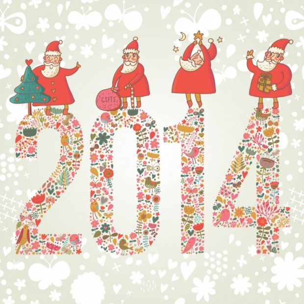 2014 concept New Year background. 2014 made of bright flowers with funny Santa and gifts