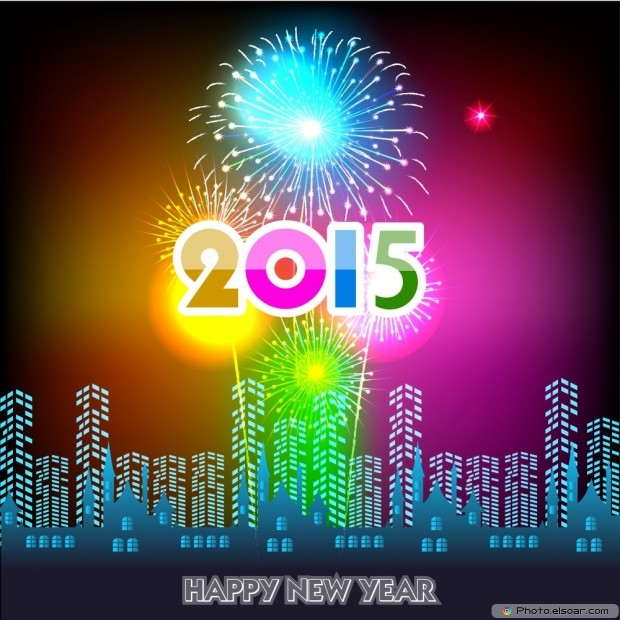 Happy New Year's Day 2015 With Fireworks