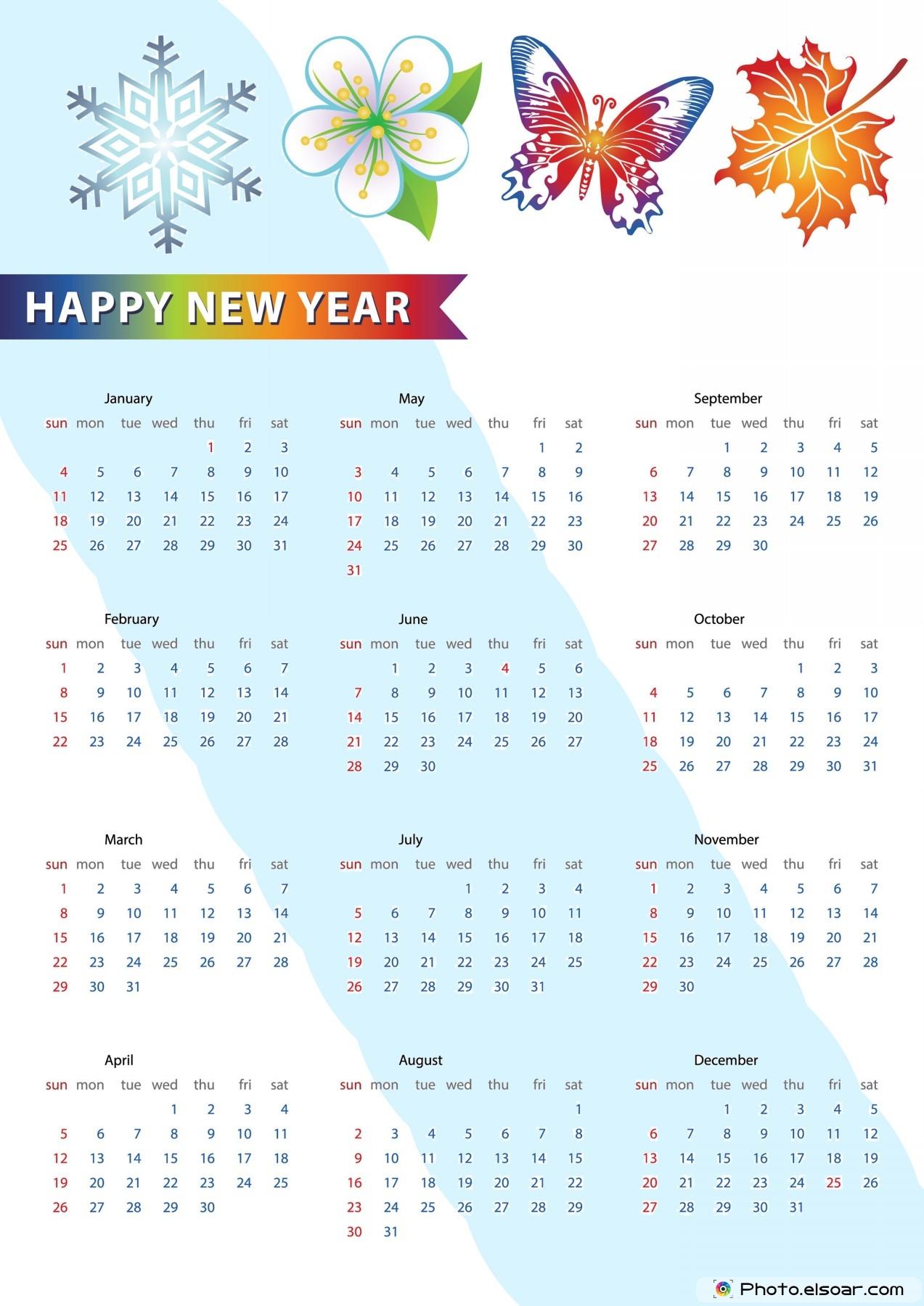 Happy New Year Calendar : Get printable calendars free download elsoar