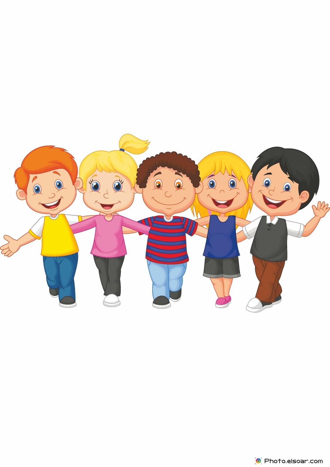 happy kid walking together - Cartoon Kid Images