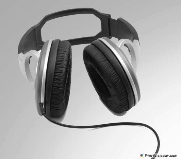 Headphones on a gray background