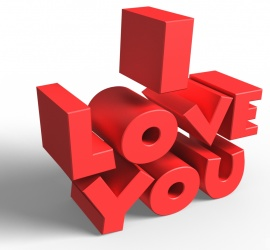 I Love You 3D text on White Background