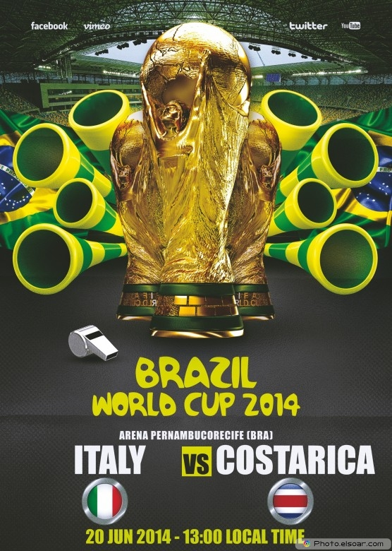 Italy vs Costa Rica - World Cup 2014 - 20 Jun 2014 - 13:00 Local time - Group D - Arena Pernambuco - Recife