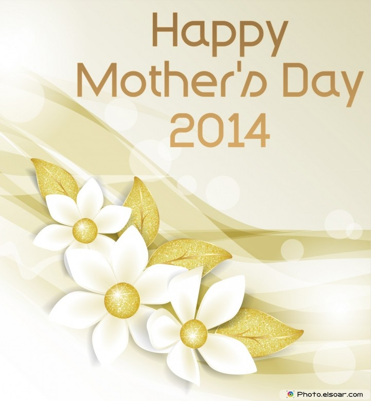 Luxurious Mother's Day Card 2014 With flowers, on gold background