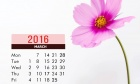 March 2016 Calendar With A Pink Flower