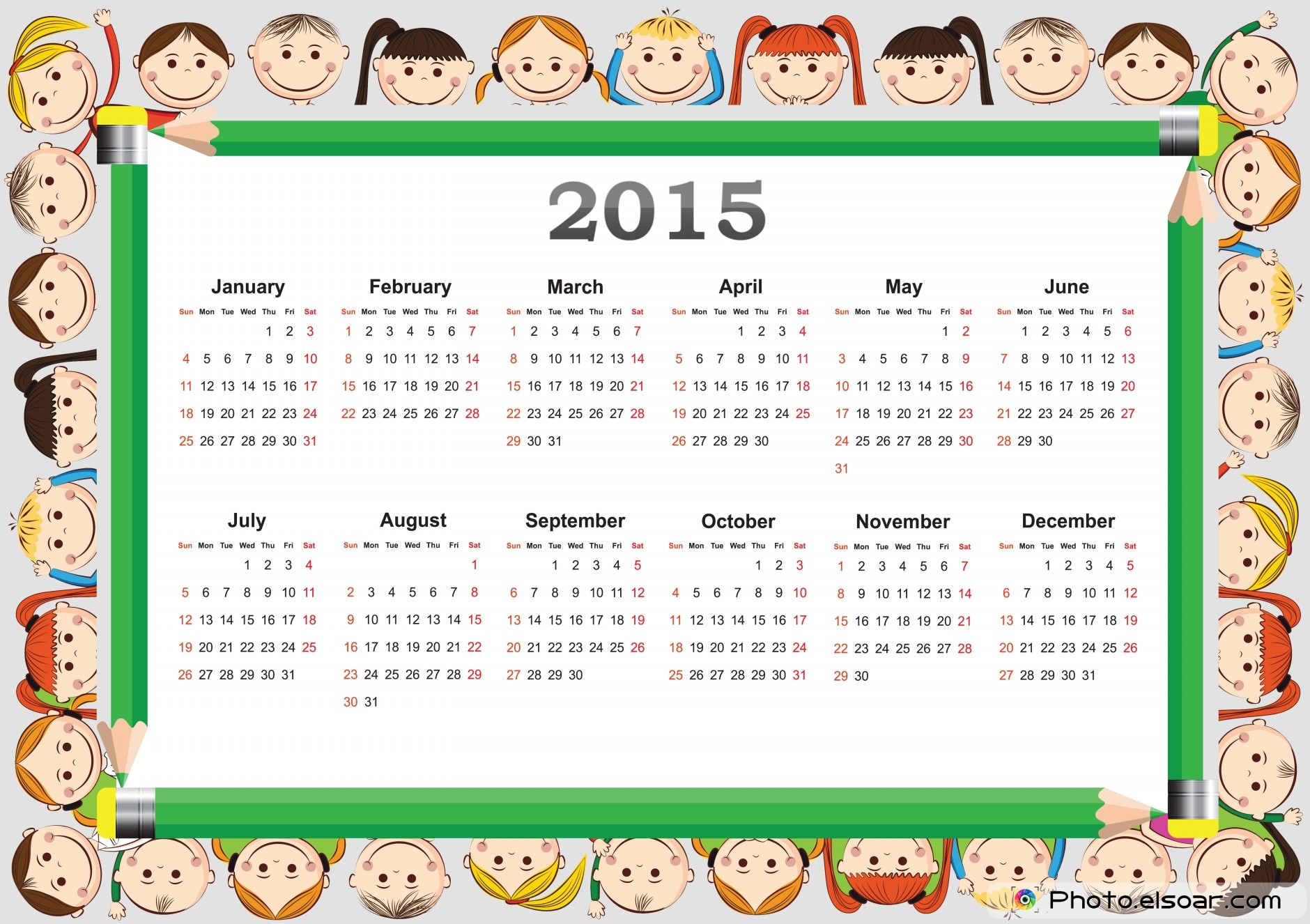 free 2015 printable calendar for kids elsoar