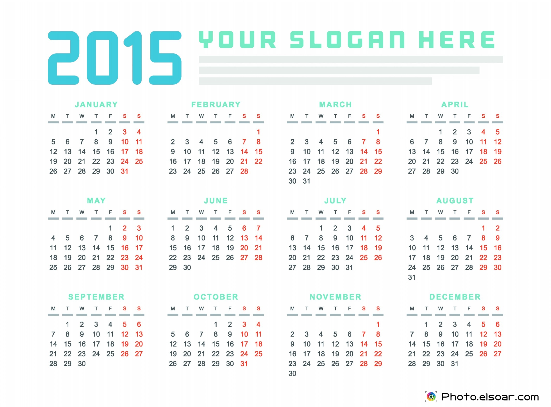 calendars 2015 monthly