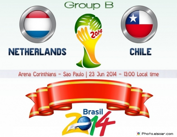 Netherlands Vs - Chile World Cup 2014 - 23 Jun 2014 - 13:00 Local time - GROUP B - Arena Corinthians - Sao Paulo