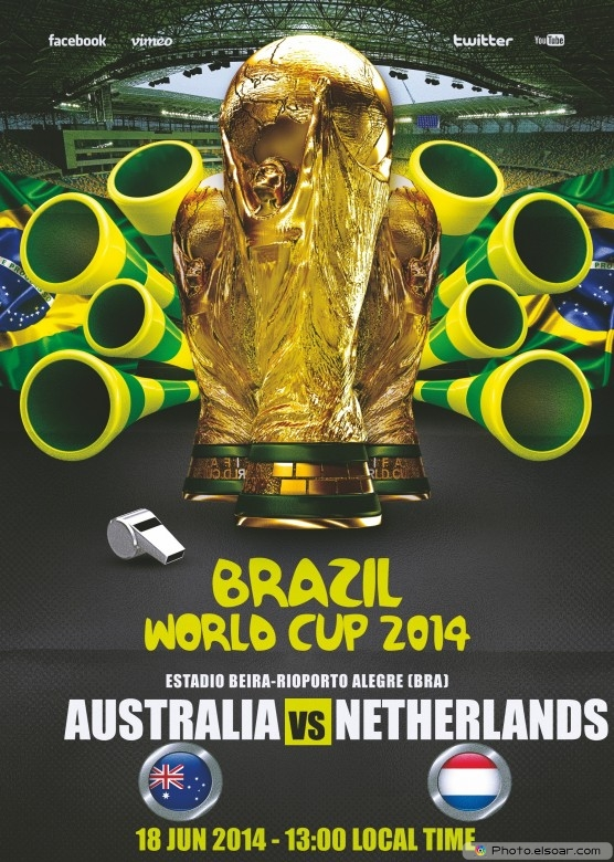 Netherlands vs Australia - World Cup 2014 - 18 Jun 2014 - 13:00 Local time - Group B - Estadio Beira-Rio - Porto Alegre