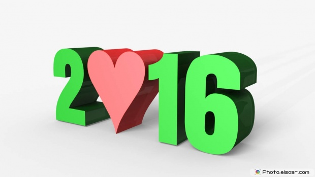 New Year 3D Greeting Card 2016 With Red Heart