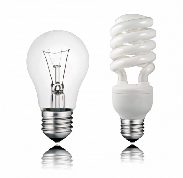 Normal and Saver Lightbulb with Reflection