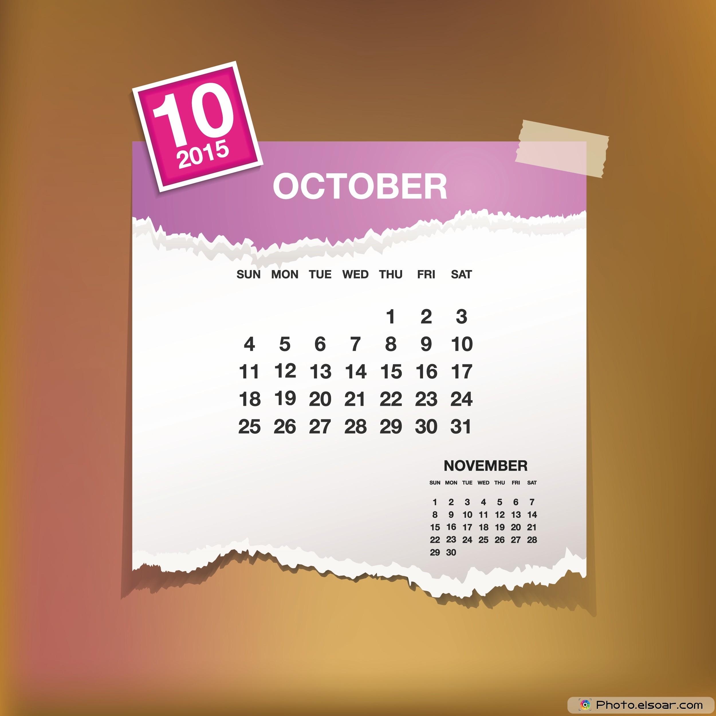 Group of October Calendar Design