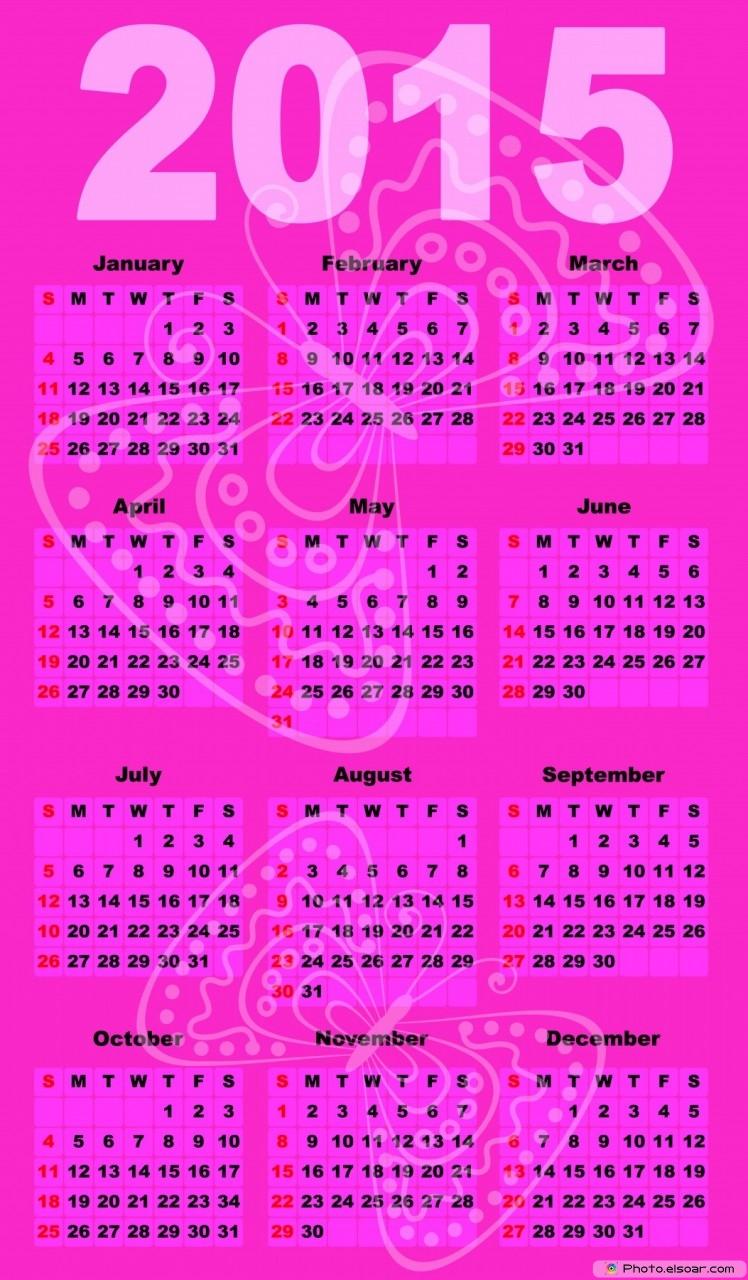 Pink 2015 Calendar - Free
