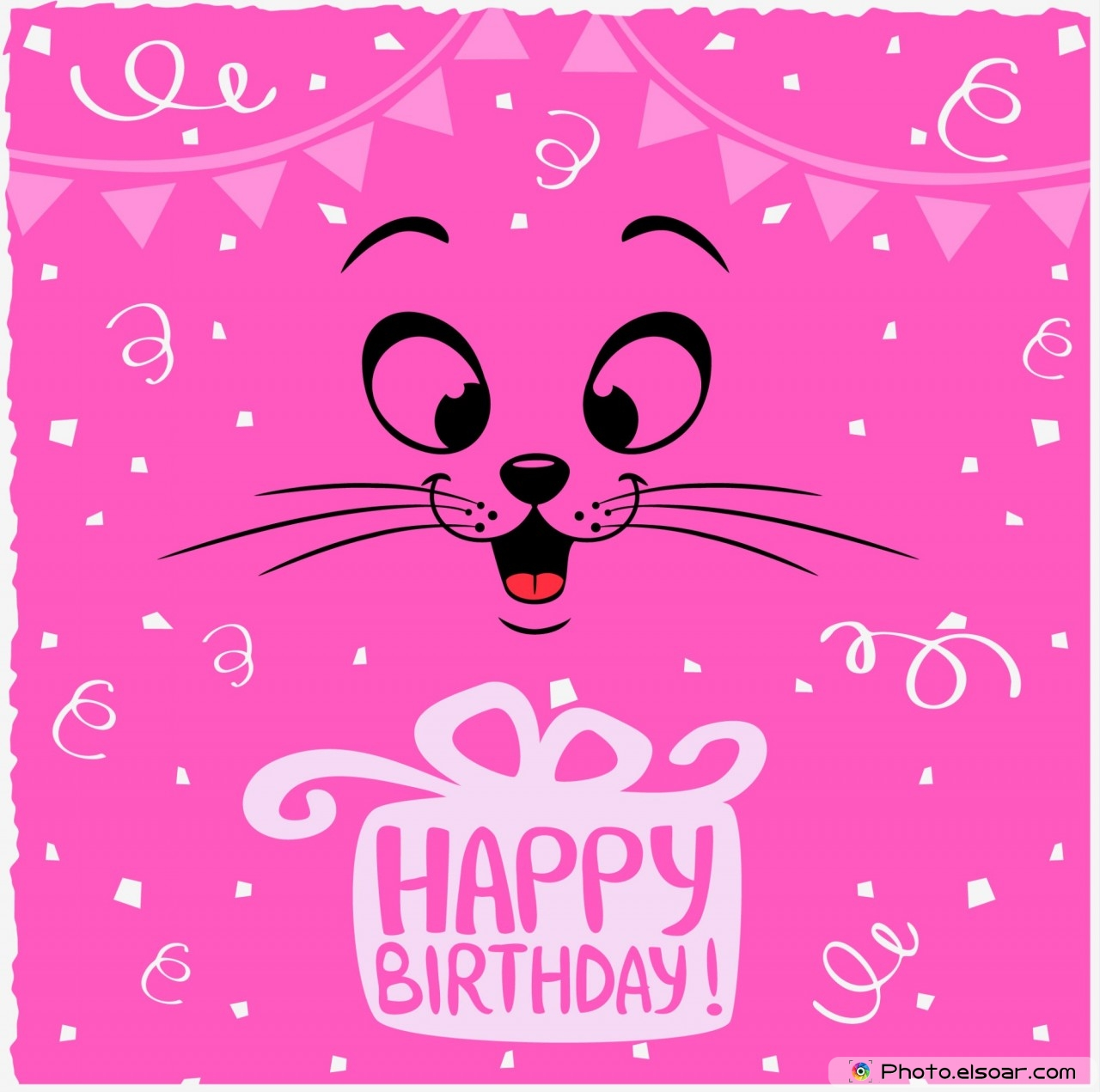 Pink Image Happy Birthday With Funny Emoticon