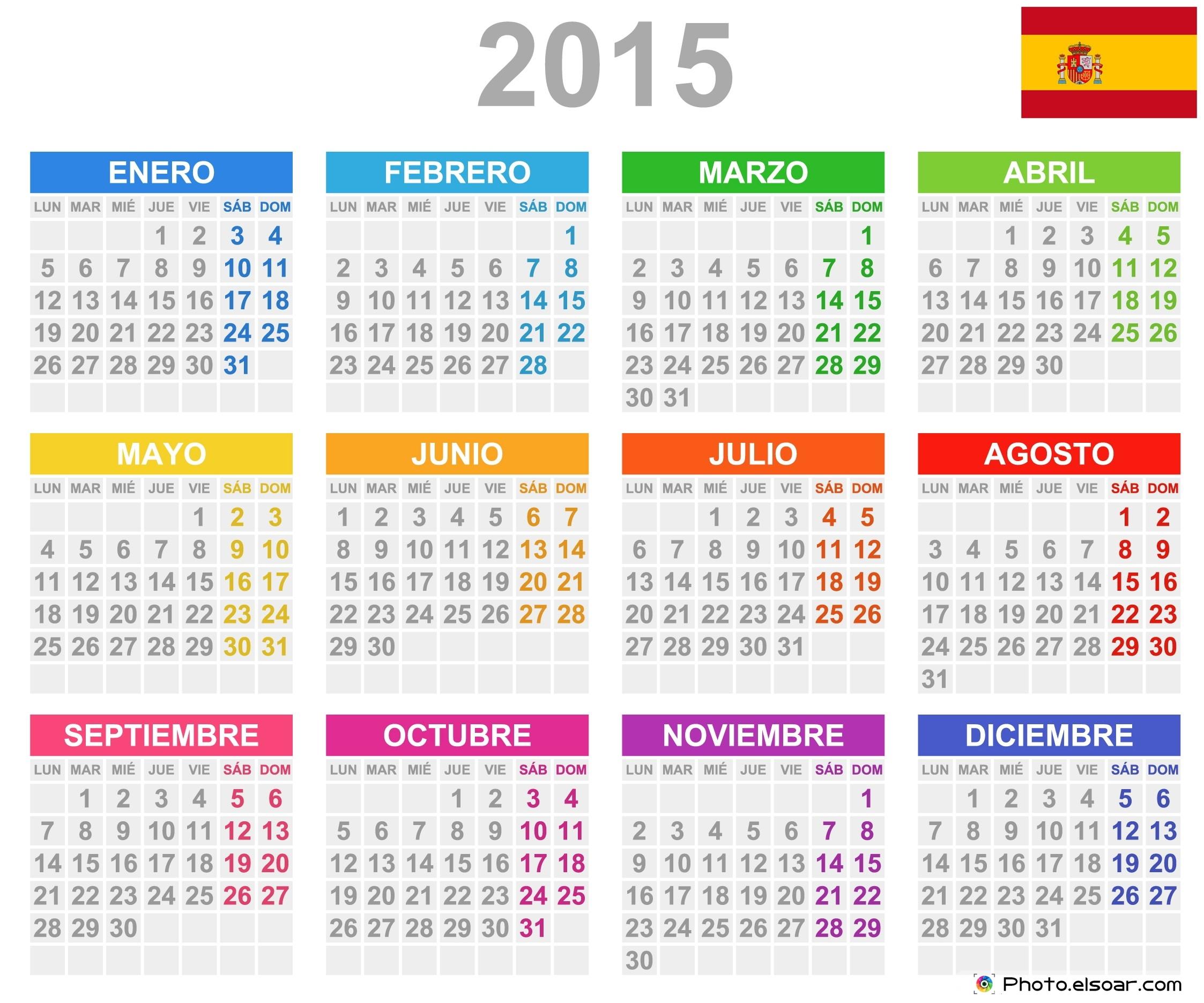 Calendarios) Free Printable Spanish Calendar 2015 Templates • Elsoar