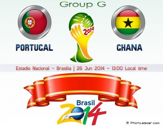 Portugal Vs Ghana - World Cup 2014 - 26 Jun 2014 - 13:00 Local time - GROUP G - Estadio Nacional - Brasilia